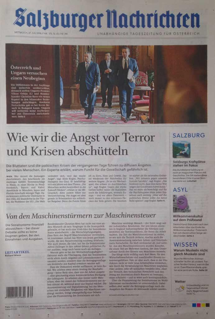 Salzburger Nachrichten Juli 2016